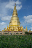 Gold pagoda in Thailand grass foreground Stock Image
