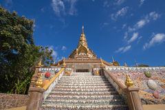 Gold pagoda in Wat Phra That Pha Son Kaew Temple, Thailand Royalty Free Stock Photos