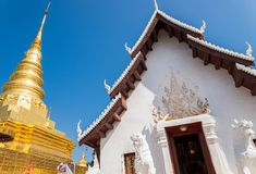 Gold pagoda and white temple Royalty Free Stock Photography