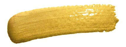 Gold paint brush smear stroke. Acrylic golden color stain on white background. Abstract gold glittering textured glossy illustrati stock photography