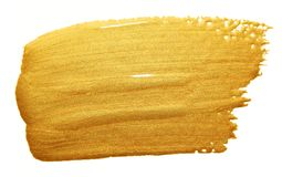 Gold paint brush smear stroke. Acrylic golden color stain on white background. Abstract gold glittering textured glossy illustrati royalty free stock photo