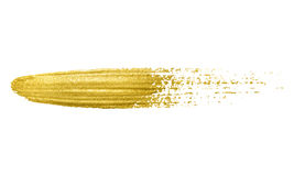 Gold paint brush stroke. Royalty Free Stock Photo