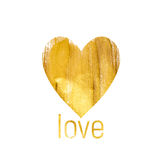 Gold Paint Glittering Textured Heart Art Illustration.  Royalty Free Stock Photography