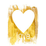 Gold Paint Glittering Textured Heart Art Illustration. Vector Il. Lustration EPS10 Stock Photos