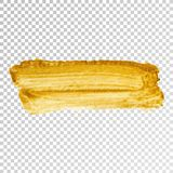 Gold paint smear stroke stain, brush stroke on white background. Abstract gold glittering texture. vector illustration