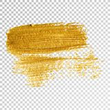 Gold paint smear stroke stain, brush stroke on white background. Abstract gold glittering texture. stock illustration