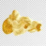 Gold paint smear stroke stain, brush stroke on white background. Abstract gold glittering texture. High quality manually traced vector illustration stock illustration