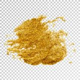 Gold paint smear stroke stain, brush stroke on white background. Abstract gold glittering texture. High quality manually traced vector illustration royalty free illustration