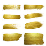 Gold paint smear stroke stain set. Royalty Free Stock Photography