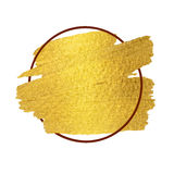 Gold paint stroke with border frame. Gold paint brush stroke with border frame Stock Photos