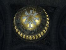 A gold painted mural in the highest dome of the Sacré-Cœur, Paris royalty free stock photos