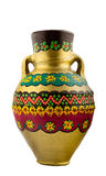 Gold painted pottery Egyptian drinking vessel Stock Images