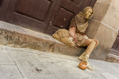 Gold painted street artist in Barcelona Stock Images