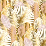 Gold and pale rose abstract leaves seamless pattern. For background, wrapping paper, fabric on blue checkered background. floral botalical endless repeatable Stock Photography