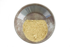 A gold pan filled with natural placer gold Stock Images