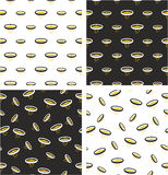 Gold Pan With Gold Flakes Big & Small Aligned & Random Seamless Pattern Color Set Stock Images