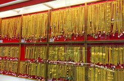 Gold, panel gold shop jewelry store for seller recommend products and gold showcase, gold shop background stock photo
