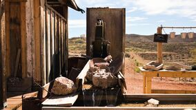 Gold panning equipment and water wheel in Tombstone