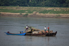 Gold panning on the Irrawaddy in Myanmar Royalty Free Stock Photo