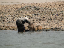 Gold panning. In Mekong river in Loas Stock Images