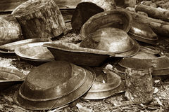 Gold pans in sepia Stock Photos
