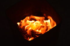 Gold paper burning to ancestor Royalty Free Stock Image