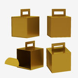 Gold paper carton box with handle, clipping path included Stock Image