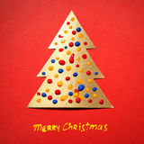 Gold paper Christmas tree Royalty Free Stock Photo