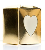 Gold Paper Heart Box on White background Royalty Free Stock Photos