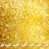 Gold paper horizontal ribbon on abstract background Royalty Free Stock Images