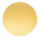 Gold paper seal label with isolated clipping path. Gold paper seal label with clipping path included Stock Image