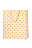 Gold paper shopping bag Stock Image