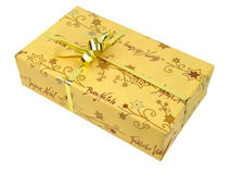 Gold Parcel. Isoplated gold package stock images