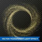 Gold particle swirl circle effect. Vector golden glitter star shine twirl trace. Gold glitter particles swirl or circle spin effect on transparent background Royalty Free Stock Images