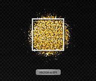 Gold particles with frame. Vector illustration 10 eps. Gold glitter shining background for greeting cards. Royalty Free Stock Photography