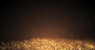 Gold Particles Moving Background.Particle from below. Particle gold dust flickering on black background.