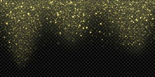 Gold particles or snow falling vector background, sparkling snowfall of glittering golden snowflakes. Vector glowing glitter. Gold particles or snow falling Royalty Free Stock Photo