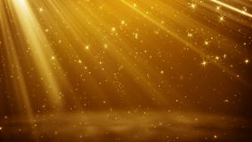 Gold particles and stars flying in light rays. Gold particles and stars flying in light beams. Computer generated abstract background Royalty Free Stock Images