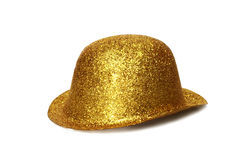 Gold Party Hat. A gold glitter party hat isolated on white background Royalty Free Stock Photography