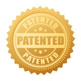 Gold patented seal vector illustration. Isolated on white background Stock Images