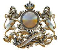 Gold patina old coat of arms with lions royalty free stock image