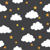 Gold pattern with clouds. Gold glitter pattern with clouds and stars. Vector illustration Royalty Free Stock Images
