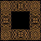 Gold pattern in a frame in the Arab or Celtic style Royalty Free Stock Images