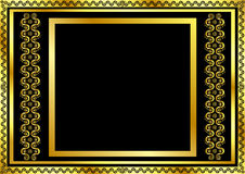 Gold pattern frame with waves and stars_11 Stock Photos