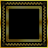 Gold pattern frame with waves and stars_14 Royalty Free Stock Photography
