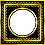 Gold pattern frame with waves and stars_16 Stock Photos