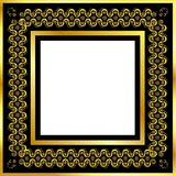 Gold pattern frame with waves and stars_17 Stock Photos