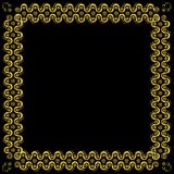 Gold pattern frame with waves and stars_3 Stock Photography