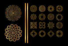 Gold pattern isolated on background. Vector mandala gold tattoo.  Ornamental golden round lace background Royalty Free Stock Image