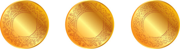 Gold pattern medal Royalty Free Stock Photos